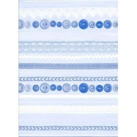 feuille décopatch frises et boutons bleu