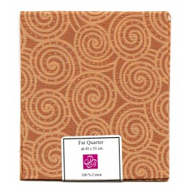 coupon patchwork imprimé spirales marrons