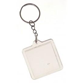 2 porte clés carré acrylique transparent 4x4cm