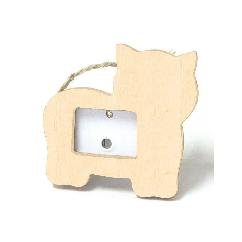 Cadre photo chat en bois 7x8cm d corer for Cadre photo a decorer