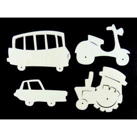 4 véhicules plats en bois ciselé blanc