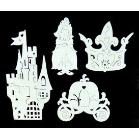 4 motifs princesse plats en bois ciselé blanc