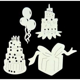 4 motifs anniversaire plats en bois ciselé blanc