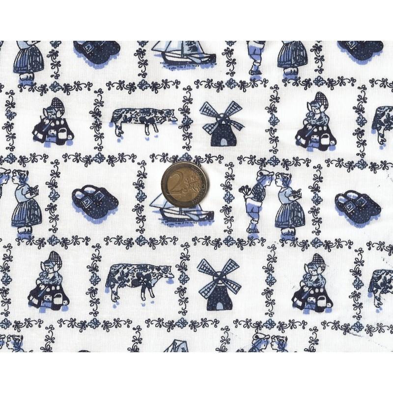 tissu coton campagne bleu largeur 145cm x 50cm
