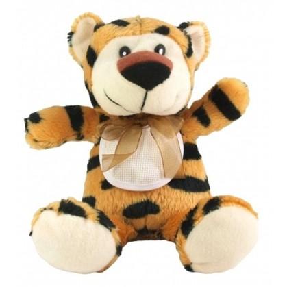peluche tigre 25cm avec bavoir à broder