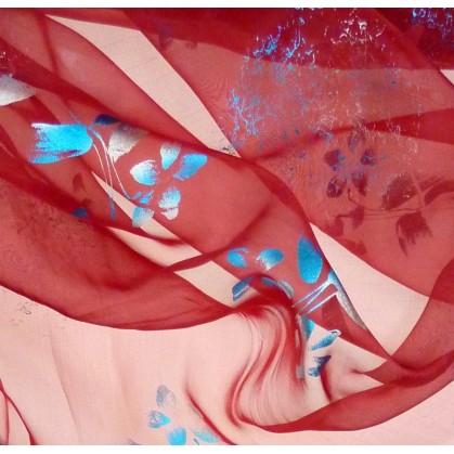 tissu organza fleurs bleues largeur 150cm au mètre