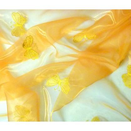 tissu organza jaune papillons broder largeur 145cm au mètre