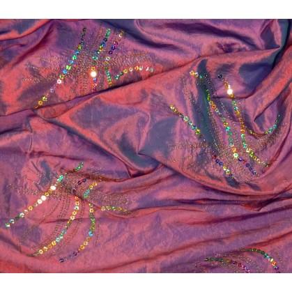tissu taffeta bordeaux paillettes largeur 145cm au mètre