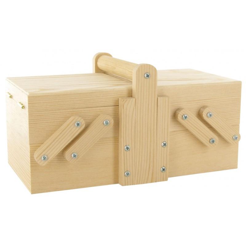 Petite boite ouvrage 20x10x8 5cm en bois brut d corer for Boite bois a decorer