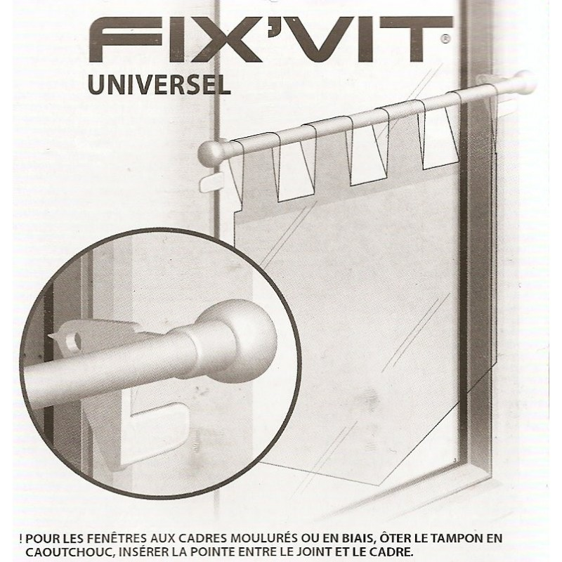 Tringle fix 39 vit autobloquante 9mm extensible 30 50cm - Tringle rideaux autobloquante fenetre pvc ...