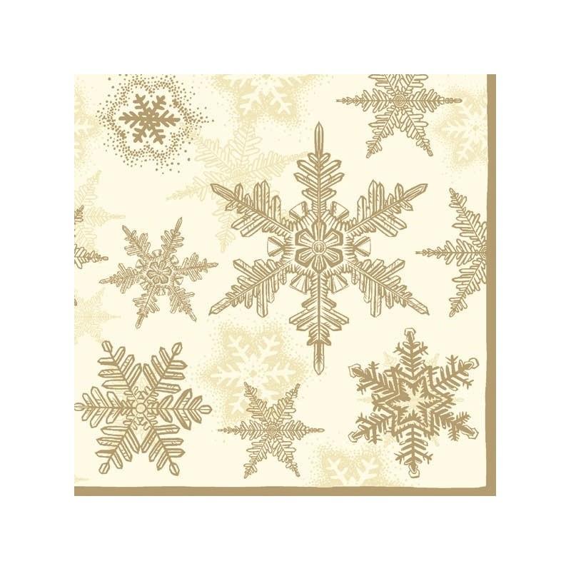 20 serviettes en papier flocon de neige or 33x33cm. Black Bedroom Furniture Sets. Home Design Ideas