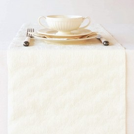 chemin de table en papier fleurs blanches 33x600cm