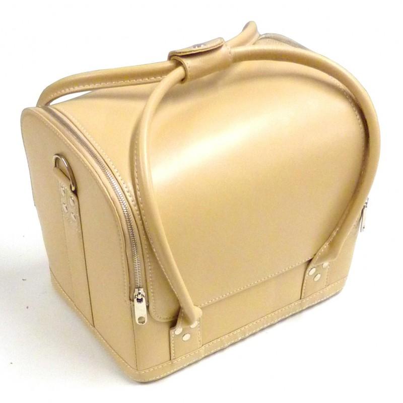 Bo te couture sac de rangement aspect cuir beige for Boite a couture en cuir