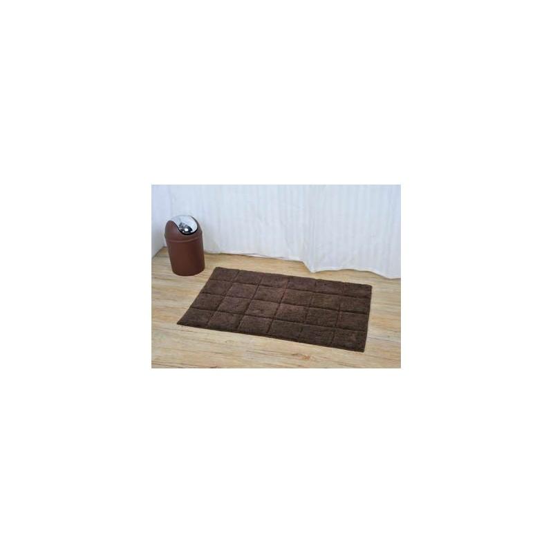 tapis de bain coton 50x80cm carr chocolat. Black Bedroom Furniture Sets. Home Design Ideas