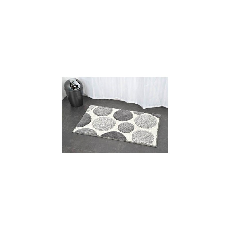 tapis de bain coton 50x80cm pois blanc gris. Black Bedroom Furniture Sets. Home Design Ideas