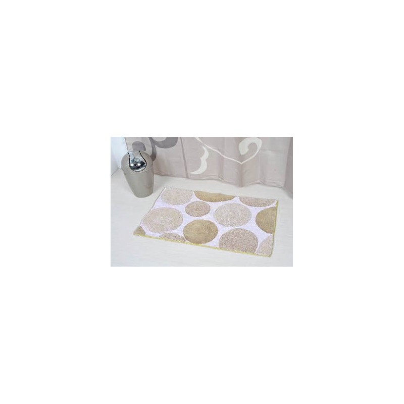 tapis de bain coton 50x80cm pois blanc taupe. Black Bedroom Furniture Sets. Home Design Ideas