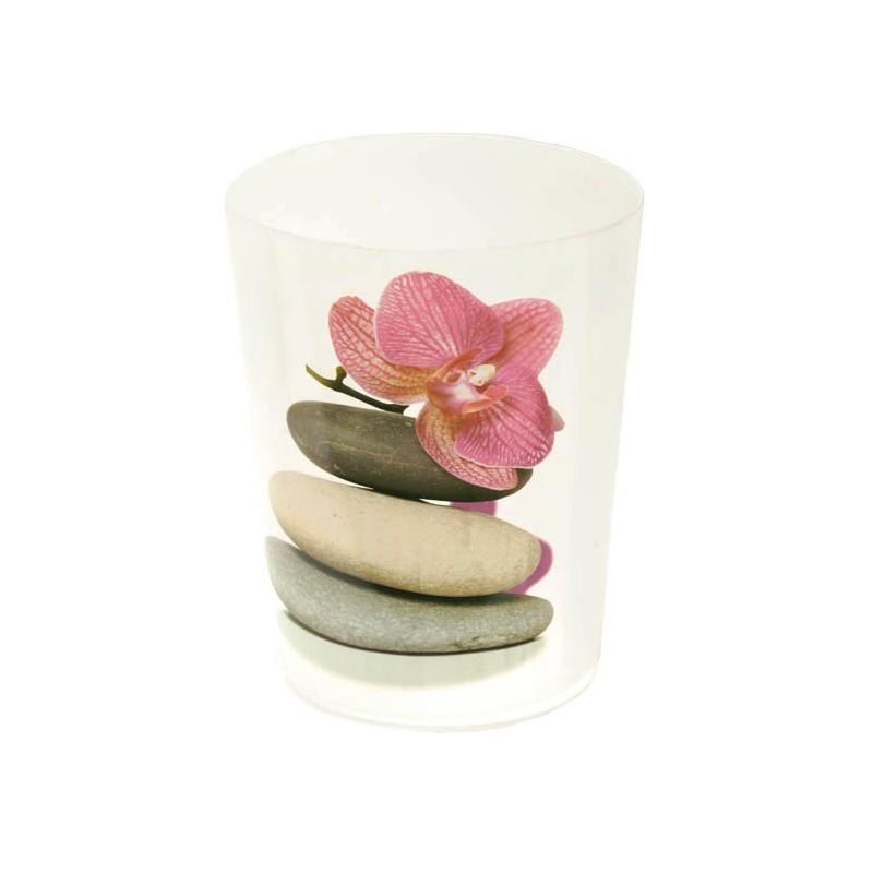 Poubelle de salle de bain en pvc galet orchid e for Salle de bain pvc