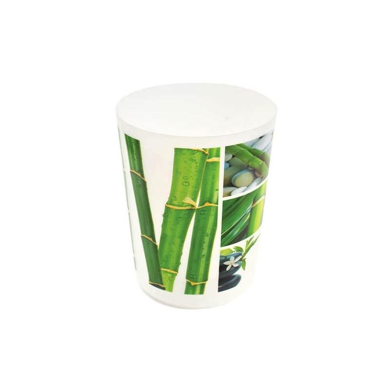Poubelle de salle de bain en pvc bambou for Poubelle bambou salle bain