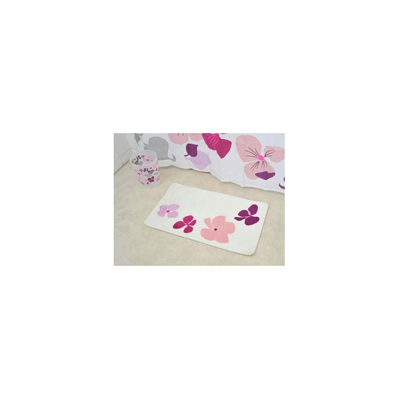 tapis de bain en microfibre 45x75cm fleurs rose. Black Bedroom Furniture Sets. Home Design Ideas