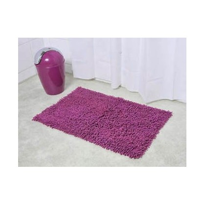 tapis de bain coton chenille 45x75cm violet. Black Bedroom Furniture Sets. Home Design Ideas