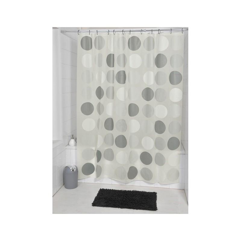 rideau de douche pois gris 180x180cm. Black Bedroom Furniture Sets. Home Design Ideas
