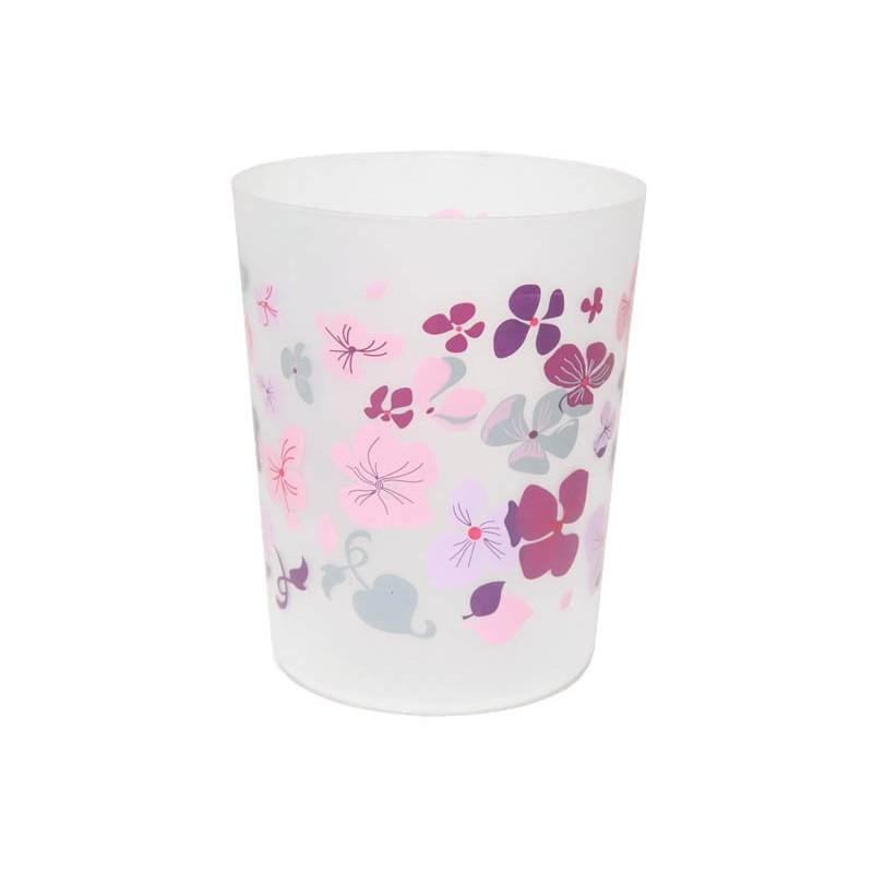 Poubelle de salle de bain en pvc fleurs rose - Poubelle salle de bain rose ...