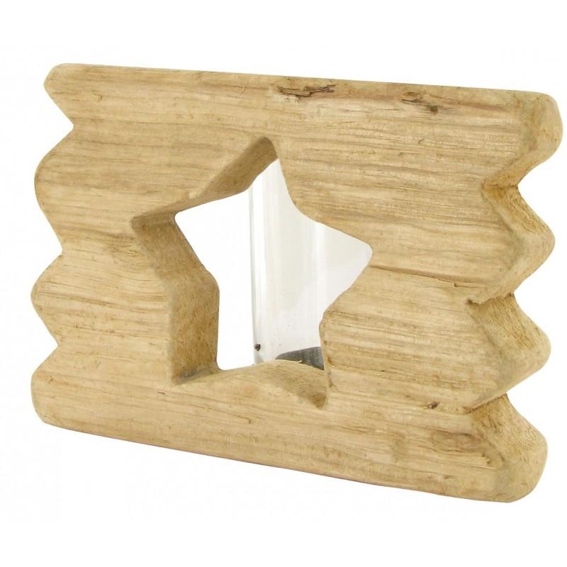 bougeoir en bois flott d coupe toile 12x8x8cm. Black Bedroom Furniture Sets. Home Design Ideas