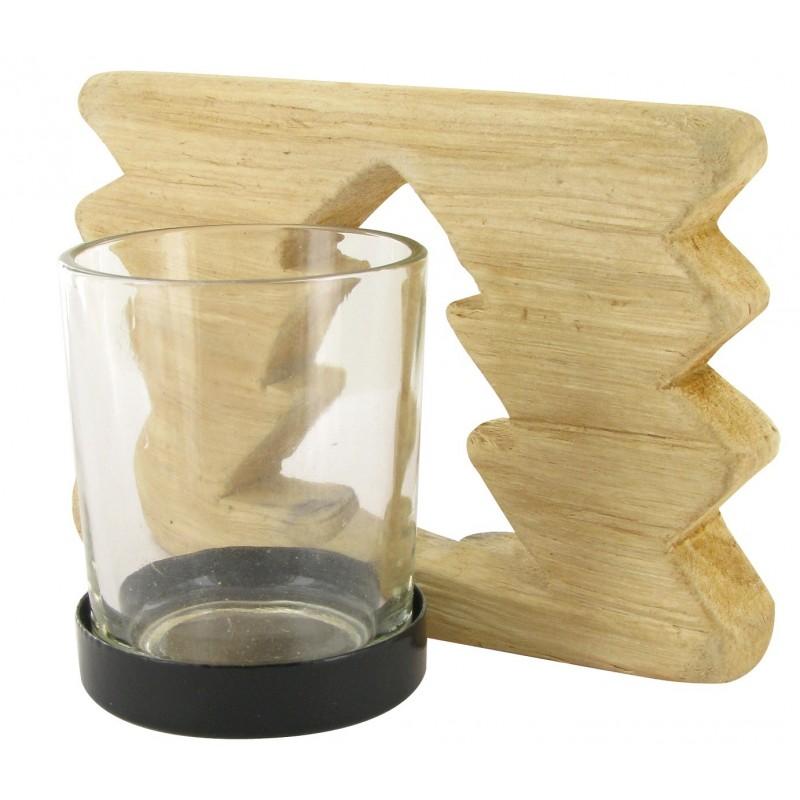 Bougeoir en bois flott d coupe sapin 12x8x8cm for Acheter un sapin en bois flotte