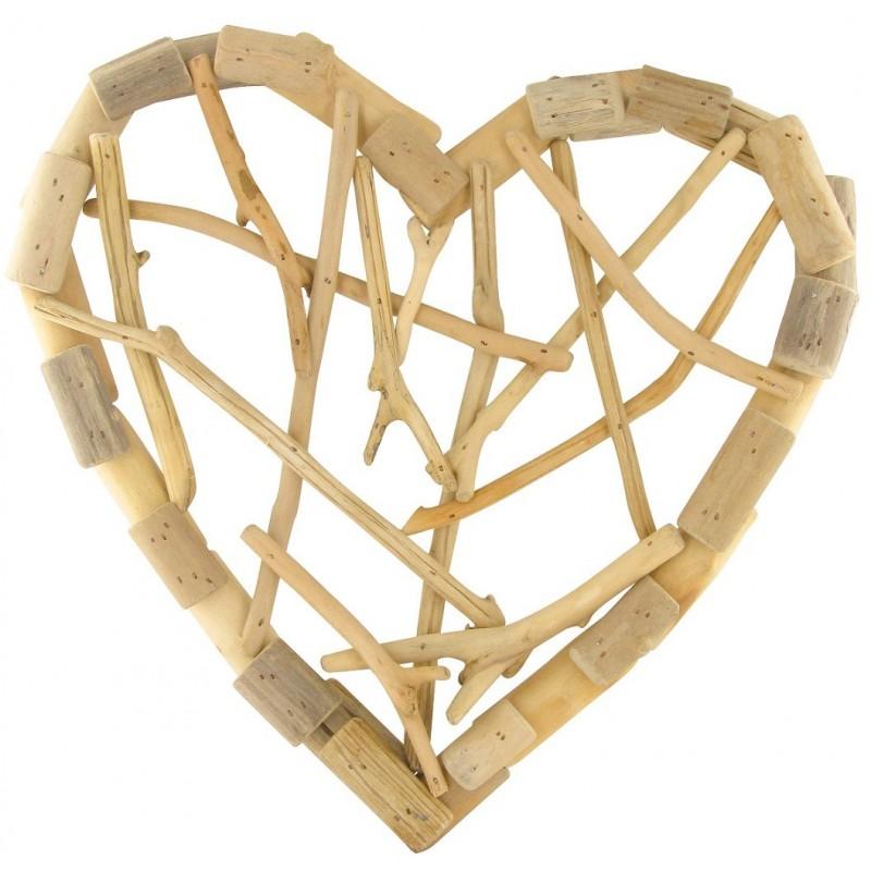 couronne coeur en bois flott 31cm