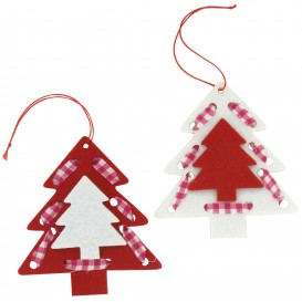 2 sapins suspension en feutrine 9,5x10,5cm