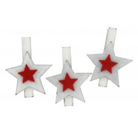 6 pinces à linge étoiles bois et feutrine 4,5cm