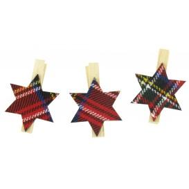 9 pinces à linge étoiles textile écossais 5cm