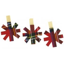 9 pinces à linge flocons textile écossais 5cm