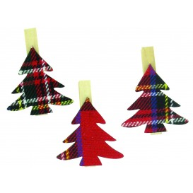 9 pinces à linge sapins textile écossais 5cm