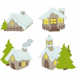 8 formes plates maisons enneigées en bois