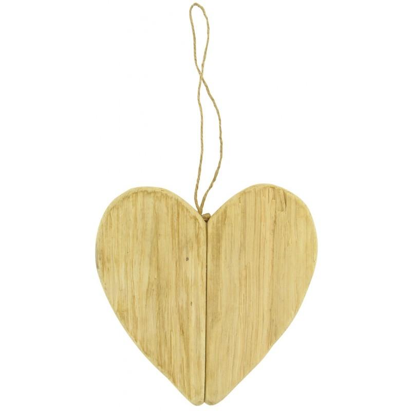 Coeur suspendre en bois flott 17x17x2 5cm for Coeur en bois flotte