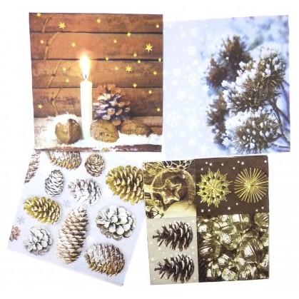 lot de 12 serviettes papier no l marron glac n 2. Black Bedroom Furniture Sets. Home Design Ideas