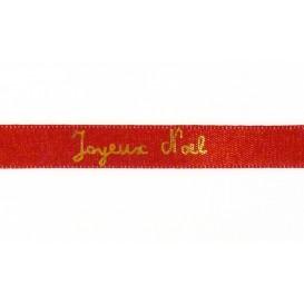 "ruban satin ""Joyeux noël"" or sur rouge"