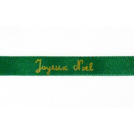 "ruban satin ""Joyeux noël"" or sur vert"