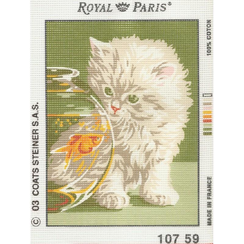 Kit canevas chat et poisson rouge royal paris 20x18cm for Achat poisson rouge paris 18