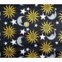 tissu satin carnaval symboles noir largeur 143cm au mètre
