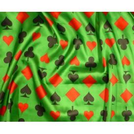 tissu satin carnaval jeux de cartes vert largeur 143cm au mètre