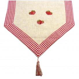 chemin de table poly lin les fraises 45x150cm