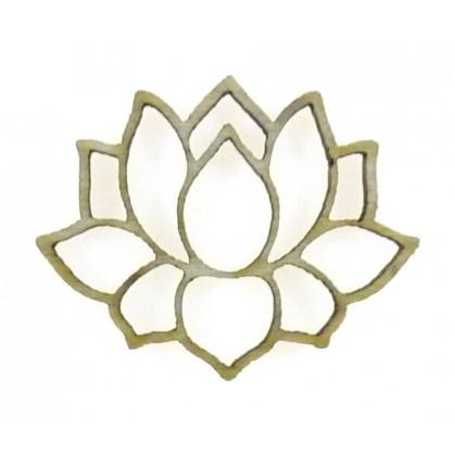 Mini Sujet En Bois Brut Fleur De Lotus Ajoure
