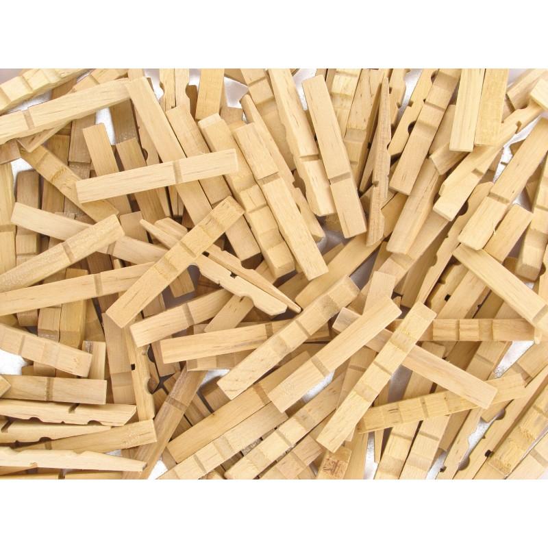 200 demi pinces linge naturelles en bois - Bricolage avec pince a linge en bois ...
