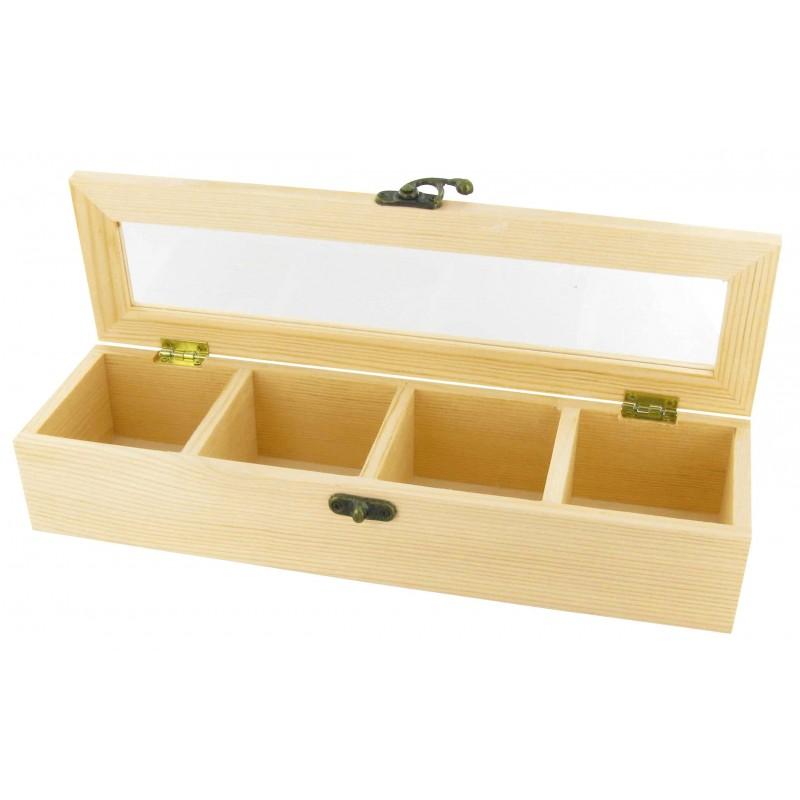 Bo te th 4 compartiments en bois brut decorer - Boite de mouchoir a decorer ...
