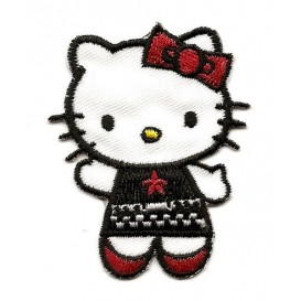 écusson hello kitty habit noir et rouge thermocollant