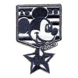 écusson disney blason mickey bleu thermocollant