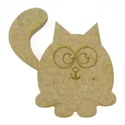 sujet en bois chat gravé
