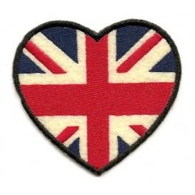 écusson coeur drapeau anglais thermocollant